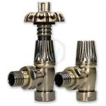 Bentley Gothic 15mm Antique Brass TRV & Lockshield Valve Set