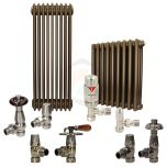 Retro Bronze Column Radiator and Valves In A Package Deal