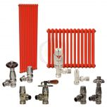 Traffic Orange Column Radiator and Valves In A Package Deal