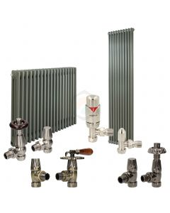 Grey Aluminium Column Radiator and Valves In A Package Deal