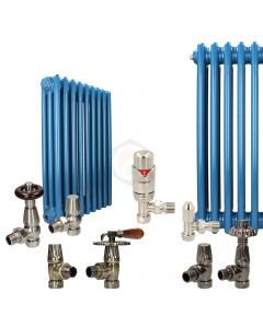 Pearl Gentian Blue Column Radiator and Valves In A Package Deal