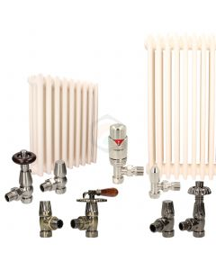 Cream Column Radiator and Valves In A Package Deal