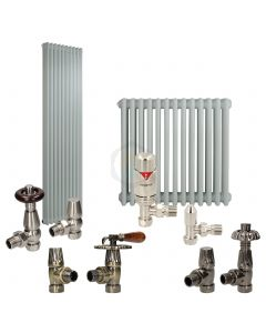 Silver Grey Column Radiator and Valves In A Package Deal
