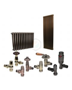Hammered Gold Column Radiator and Valves In A Package Deal
