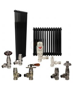 Jet Black Column Radiator and Valves In A Package Deal