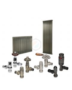 Raw Metal Column Radiator and Valves In A Package Deal