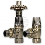 Bentley Gothic 15 mm Antique Brass TRV & Lockshield Valve Set