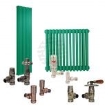 Turquoise Green Column Radiator and Valves In A Package Deal