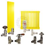 Colza Yellow Column Radiator and Valves In A Package Deal