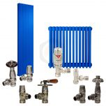 Signal Blue Column Radiator and Valves In A Package Deal