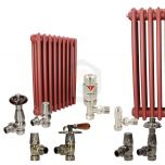 Volcanic Sunset Red Column Radiator and Valves In A Package Deal