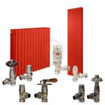Traffic Red Column Radiator and Valves In A Package Deal