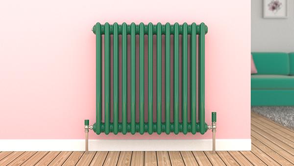 Turquoise Green column radiator.
